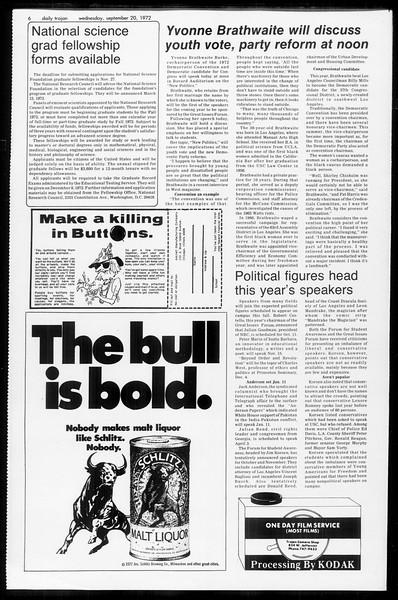Daily Trojan, Vol. 65, No. 3, September 20, 1972