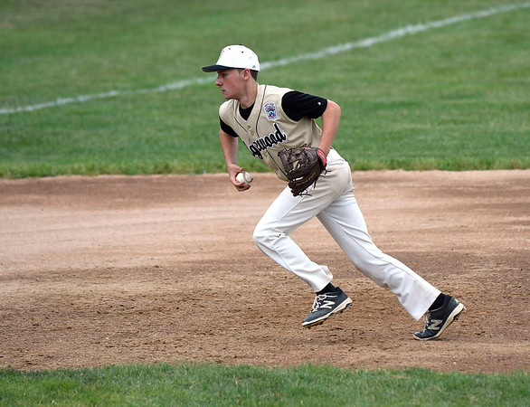 7/11/2018 Mike Orazzi | Staff Edgewood's Sean Mathew (10) against Killingly in the Senior League state championship at Barnes Field in Bristol Wednesday night.