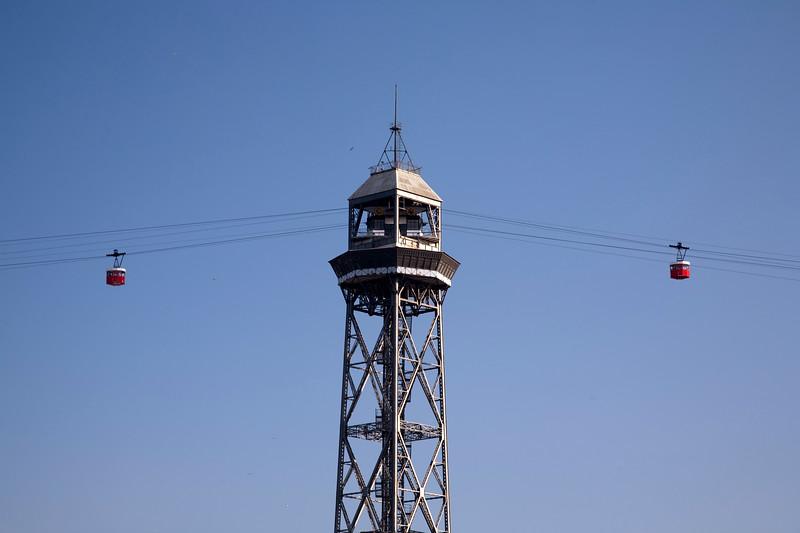Cable railway tower, seaport of Barcelona, autonomous commnunity of Catalonia, northeastern Spain