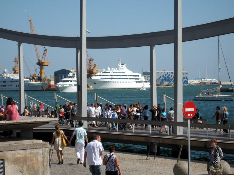 Cruise ships docking in the Mediterranean Sea