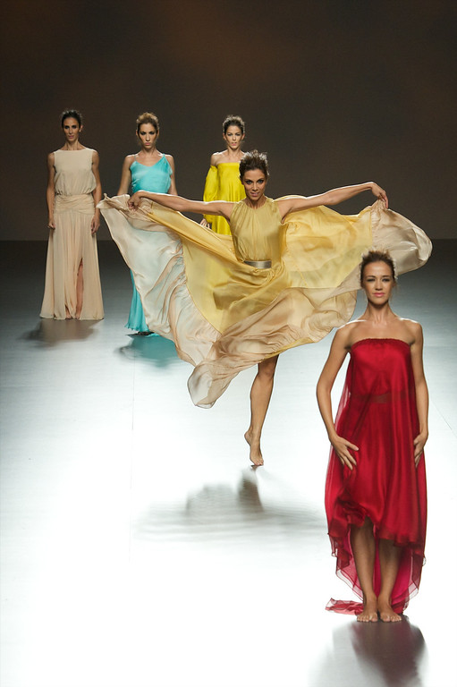 . Members of the National Ballet of Spain showcase designs by Duyos on the runway at Duyos fashion show during Mercedes Benz Fashion Week Madrid Spring/Summer 2015 at Ifema on September 14, 2014 in Madrid, Spain.  (Photo by Carlos Alvarez/Getty Images)