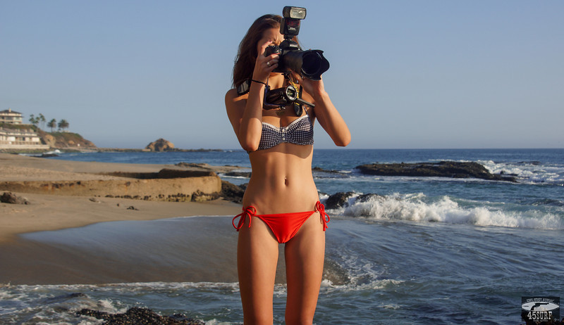 Bikini Swimsuit Model Shooting Simultaneous Stills & Video with a Nikon D800 E & Camcorder