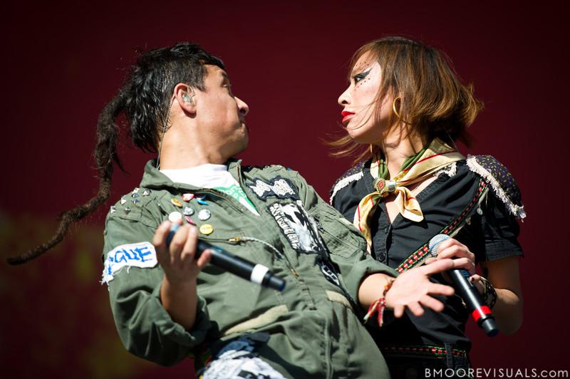 "Pedro Erazo and Elizabeth Sun of Gogol Bordello perform on November 12, 2011 during ""Orlando Calling 2011"" at The Citrus Bowl in Orlando, Florida"