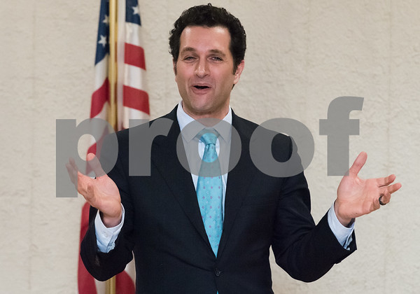 03/15/18 Wesley Bunnell   Staff Candidate for Attorney General Mike D'Agostino speaks at the Pulaski Club on Thursday evening as he along with other Democratic candidates for state office met with the Democratic Town Committee as well as New Britain residents.