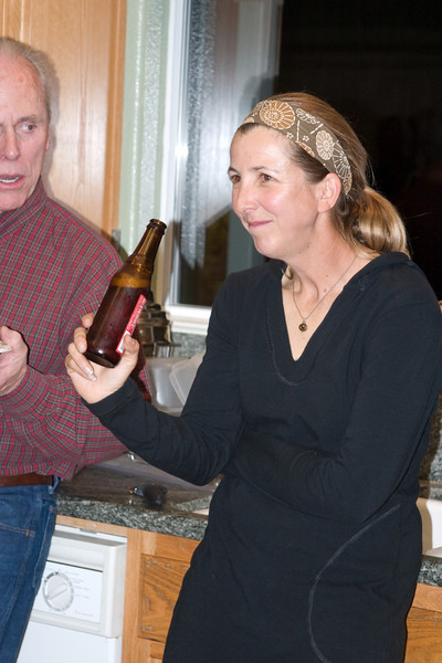 Laura Hartwick checks out the beverage situation.