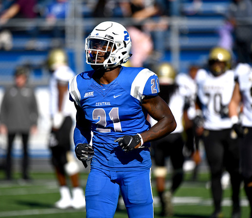 10/19/2019 Mike Orazzi | StaffrCentral Connecticut State University 's Xavier Bass (21) during Saturday's football game with Bryant in New Britain.