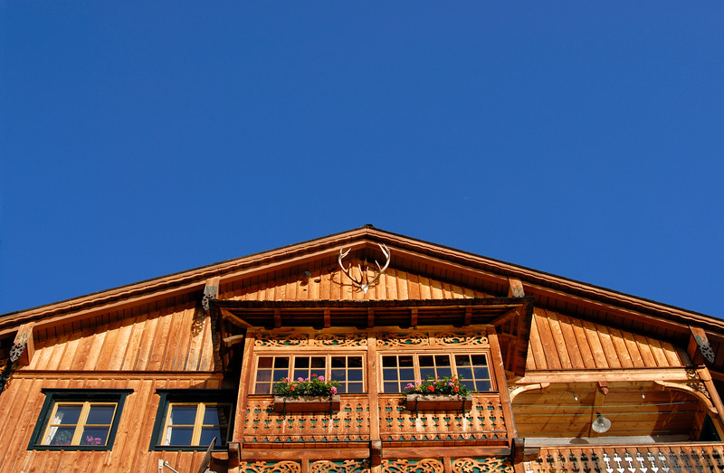 Wooden Gable of Alpine House in Hallstatt, Austria