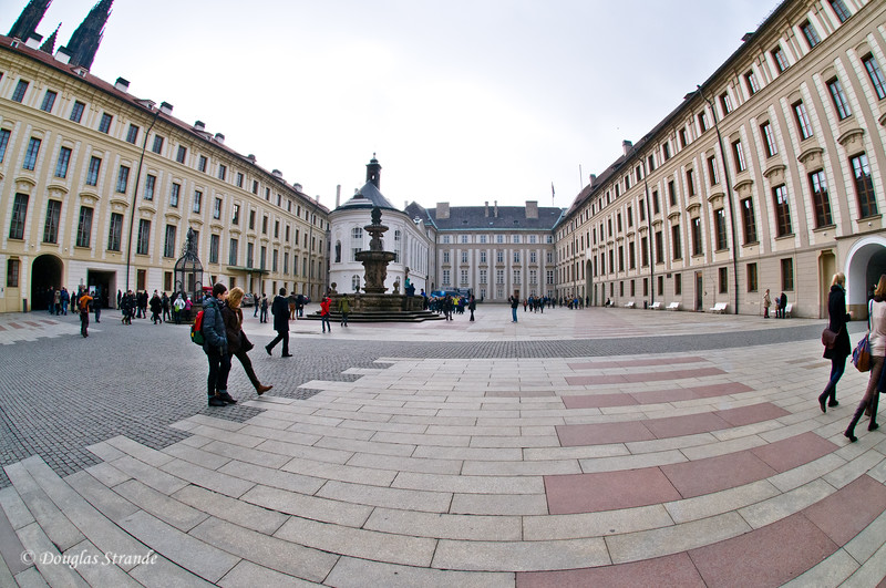 Fisheye view of the Prague Castle Courtyard