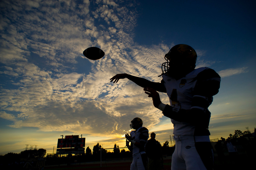 . San Fernando High School football players warm up before their game against Sierra Canyon High School at Granada Hills High School in Granada Hills Friday, August 30, 2013. (Hans Gutknecht/Los Angeles Daily News)