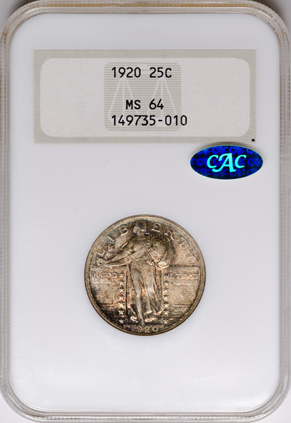 1920 25C QUARTER DOLLAR - STANDING LIBERTY, TYPE 2A NGC MS64 149735-010 CAC Obv Slab.jpg