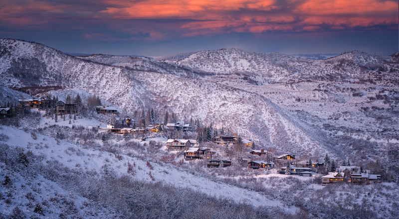 Ski resort in the Rocky Mountains during sunset