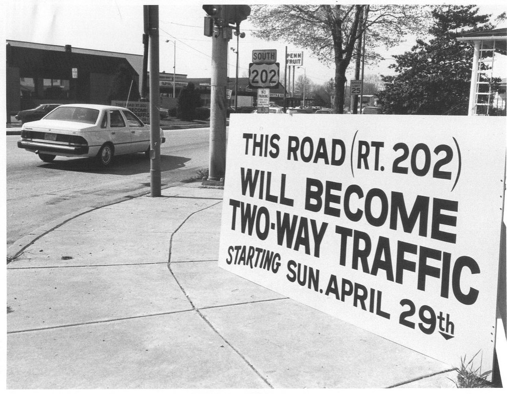 . This Times Herald file photo shows a sign at the intersection of Markley Street (Route 202) and West Johnson Highway in Norristown announcing that Markley Street will become a two-way traffic street on April 29, 1984.