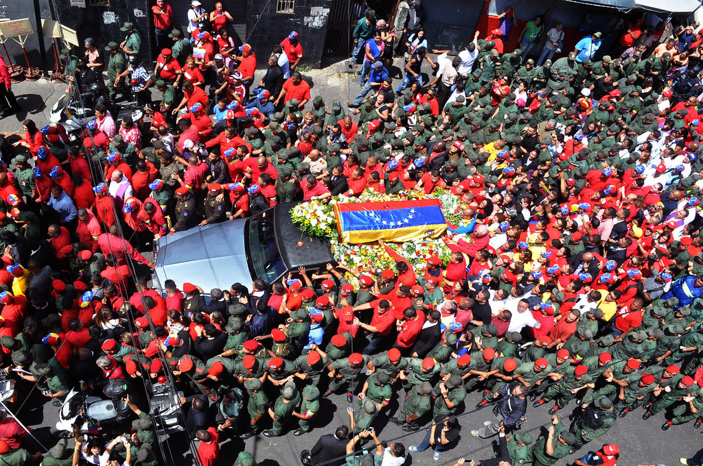 . View of the hearse carrying the coffin of Venezuelan President Hugo Chavez while leaving the Military Hospital to the Military Academy, on March 6, 2013, in Caracas. AFP PHOTO/Luis CAMACHO/AFP/Getty Images