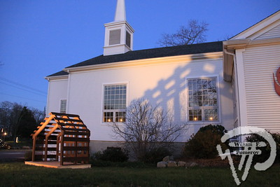UNITED METHODIST CHURCH — shadows to a nativity creche . . . main st. — rt.28 — Orleans, MA 2010