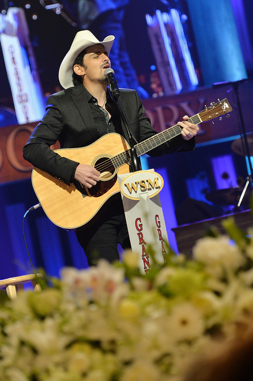 . Country musician Brad Paisley performs at the funeral service for George Jones at The Grand Ole Opry on May 2, 2013 in Nashville, Tennessee.   (Photo by Rick Diamond/Getty Images for GJ Memorial)