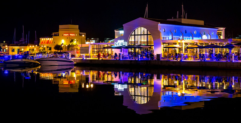 Limassol Marina at night