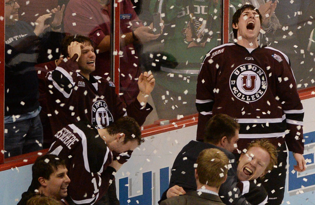 . Union College hockey players celebrate their 7-4 victory over the Minnesota Gophers in the NCAA Frozen Four Championship Game at the Wells Fargo Center in Philadelphia, Saturday, April 12, 2014. (Pioneer Press: John Autey)