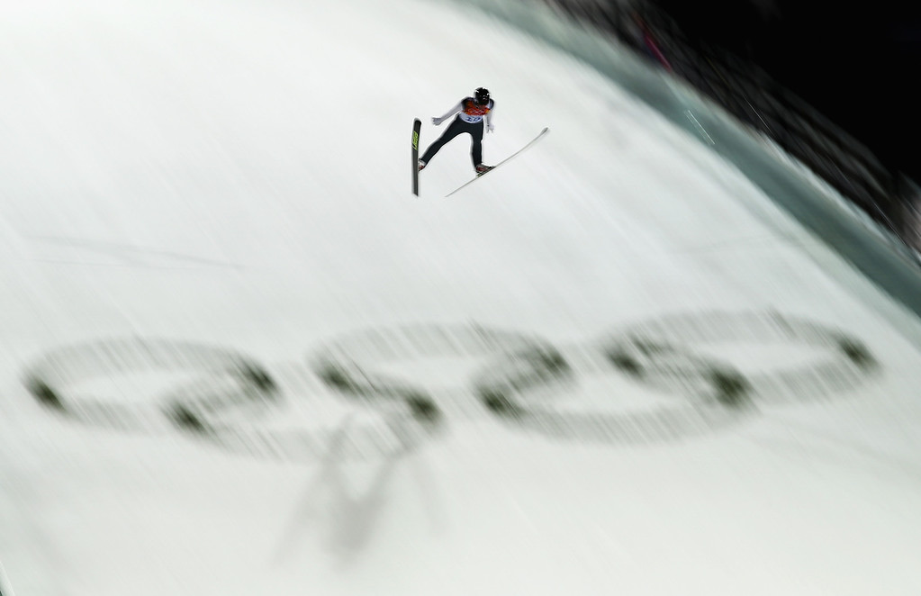 . SOCHI, RUSSIA - FEBRUARY 09:  Peter Frenette of the United States jumps during the Men\'s Normal Hill Individual Ski Jumping Final on day 2 of the Sochi 2014 Winter Olympics at RusSki Gorki Jumping Center on February 9, 2014 in Sochi, Russia.  (Photo by Ryan Pierse/Getty Images)