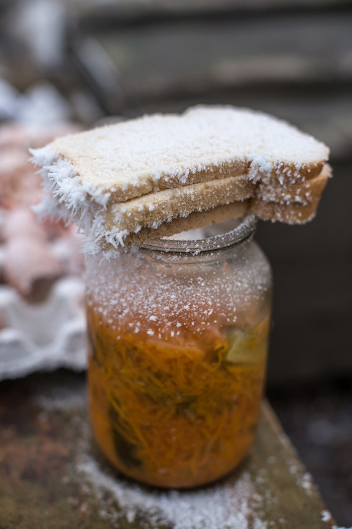 . LUGANSKOYE, UKRAINE - FEBRUARY 15: Frost-covered bread rests on a jar at a Ukrainian checkpoint along the road to the embattled town of Debaltseve on February 15, 2015 in Luganskoye, Ukraine. A ceasefire scheduled to go into effect at midnight was reportedly observed along most of the front, save for near the embattled town of Debaltseve. (Photo by Brendan Hoffman/Getty Images)