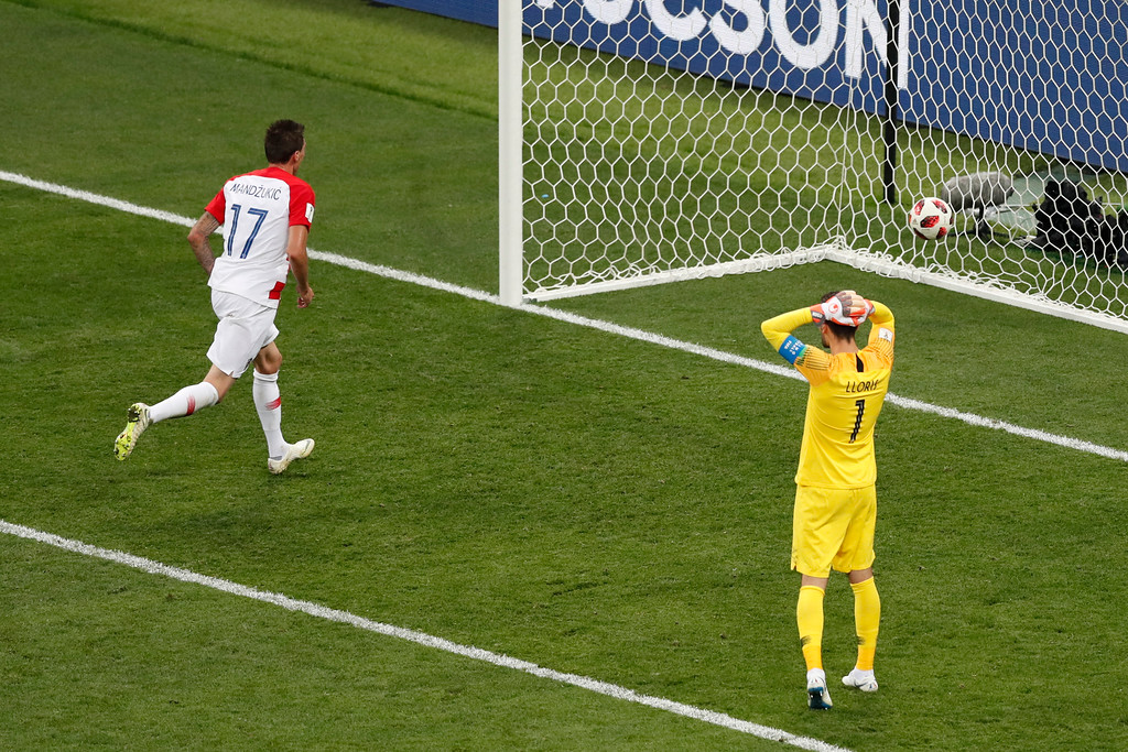 . France goalkeeper Hugo Lloris reacts after Croatia\'s Mario Mandzukic scored his side\' second goal during the final match between France and Croatia at the 2018 soccer World Cup in the Luzhniki Stadium in Moscow, Russia, Sunday, July 15, 2018. (AP Photo/Rebecca Blackwell)