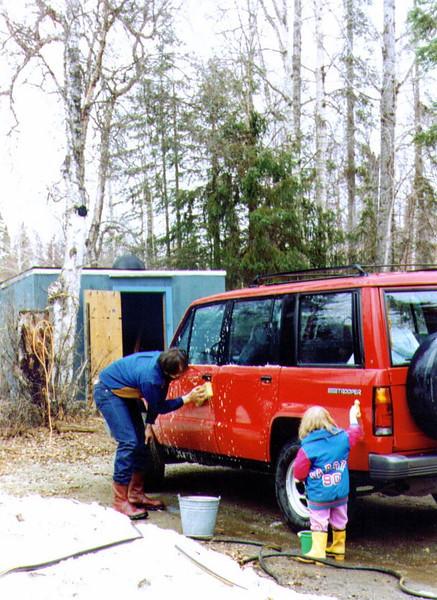 Connie & Alina, Washing the Car, 4-22-1995.jpg