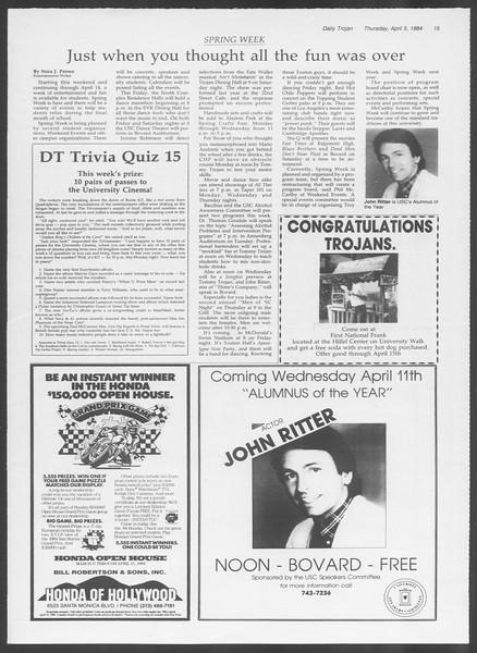 Daily Trojan, Vol. 95, No. 55, April 05, 1984