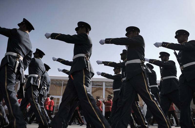 . Bahraini Honor Guard parade as they prepare for the opening of the Bahrain International Airshow 2014, in Sakhir, south of the capital Manama, on January 16, 2014. (MOHAMMED AL-SHAIKH/AFP/Getty Images)