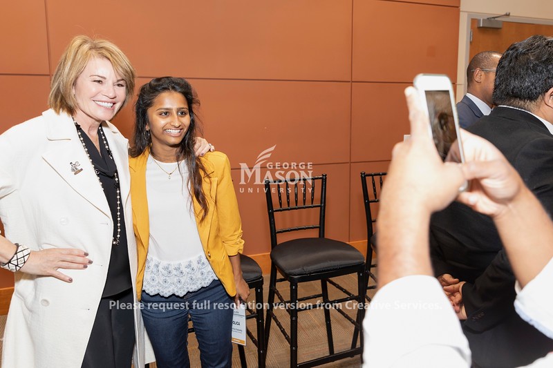 Amazon World Wide Public Sector Vice President Teresa Carlton takes a photo with senior Dolica Gopisetty at an AWS cloud computing degree launch event. Photo by Lathan Goumas/Office of Communications and Marketing   Photo Taken:Friday, September 20, 2019