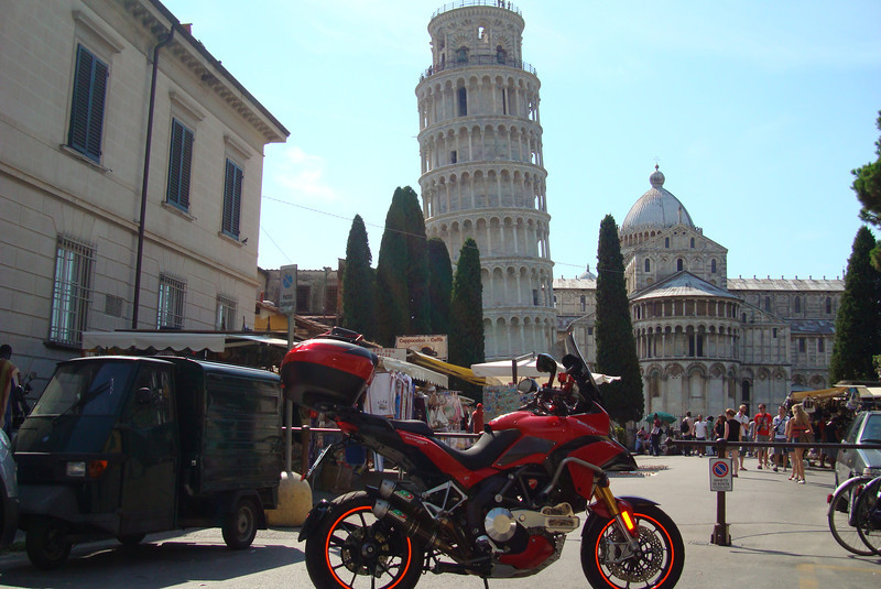 1/2 - Photo by Greek Multistrada 1200 owner/rider Eleftherios Spourgitis (aka Teris!) - Teris visits Italy, The Leaning Tower of Pisa (Torre pendente di Pisa) / the Tower of Pisa (Torre di Pisa) the freestanding bell tower, of the cathedral of the Italian city of Pisa.