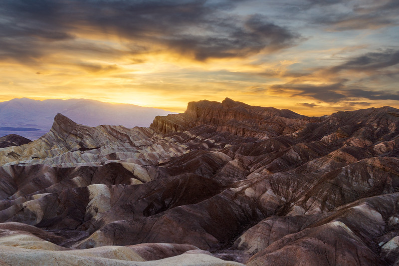 Zabriskie Point in the Death Valley at sunset, US