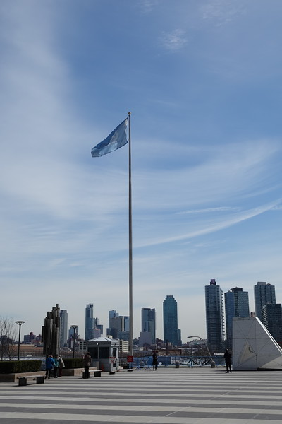 Un flag inside the UN complex, New York.