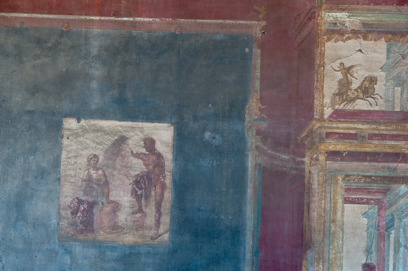 Murals on the walls in Pompeii, Italy