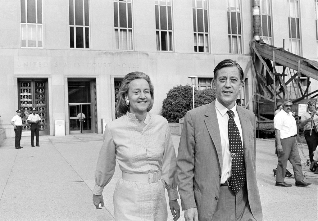 . FILE - In this June 21, 1971 file photo, Washington Post Executive Director Ben Bradlee and Post Publisher Katharine Graham leave U.S. District Court in Washington. Bradlee died Tuesday, Oct. 21, 2014, according to the Washington Post. (AP Photo, File)