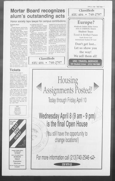 Daily Trojan, Vol. 117, No. 52, April 08, 1992