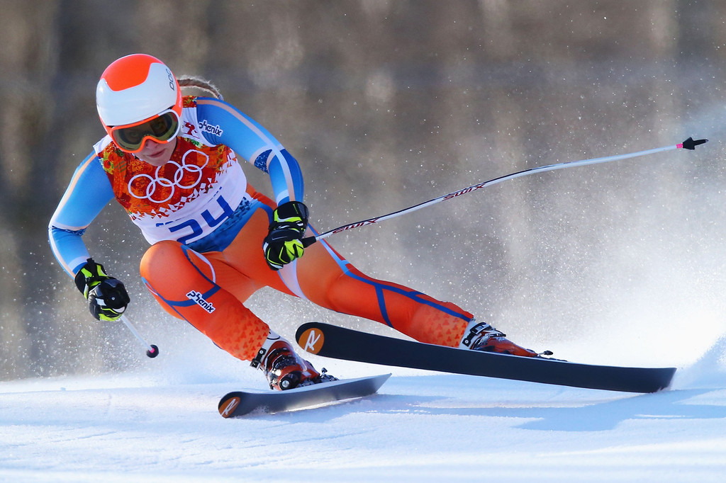 . Ragnhild Mowinckel of Norway skis during the Alpine Skiing Women\'s Downhill on day 5 of the Sochi 2014 Winter Olympics at Rosa Khutor Alpine Center on February 12, 2014 in Sochi, Russia.  (Photo by Clive Rose/Getty Images)