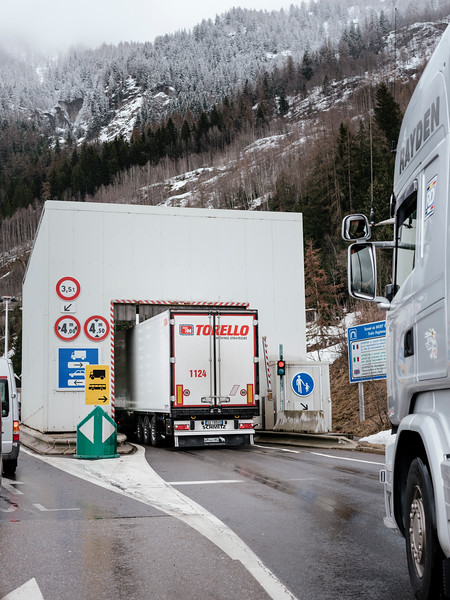Thermal sensors check for overeating parts on truck accessing the tunnel, this is from the French side - Samuel Zeller for the New York Times