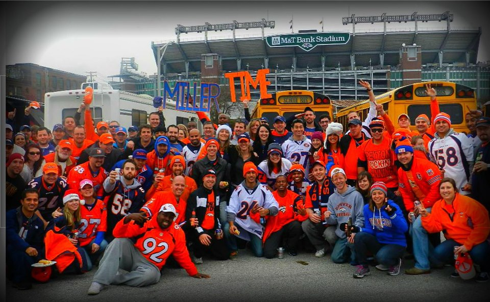 . DC Bronco Fan Club! Photographer Name: Dell Watkins The Denver Broncos Fan Club-Penn Quarter Chapter United in Orange at M&T Stadium. Mieszka Laczek-Johnson