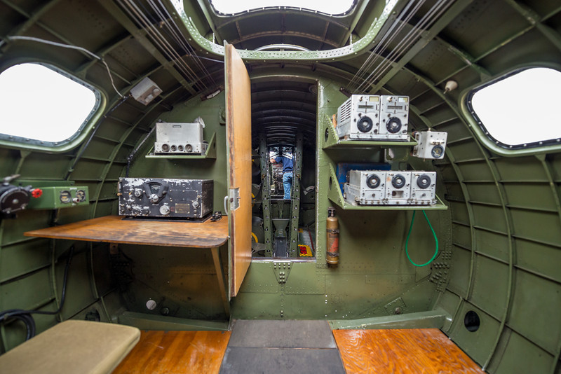 The radio compartment, behind the bomb bay.