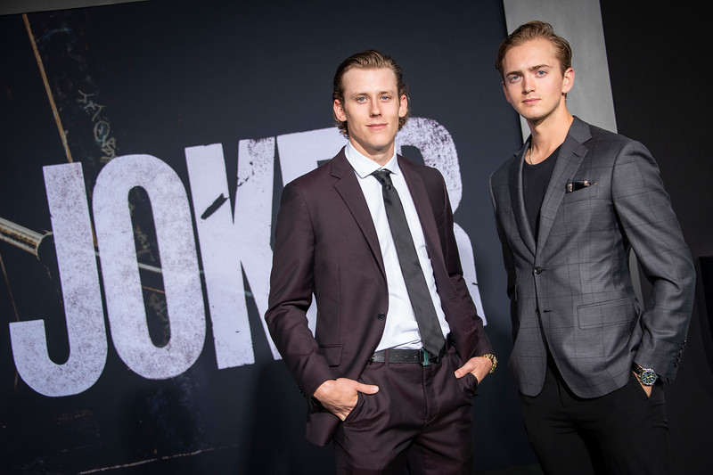 "HOLLYWOOD, CALIFORNIA - SEPTEMBER 28: Matt Luff and Cal Peterson and attend the premiere of Warner Bros Pictures ""Joker"" on Saturday, September 28, 2019 in Hollywood, California. (Photo by Tom Sorensen/Moovieboy Pictures)"