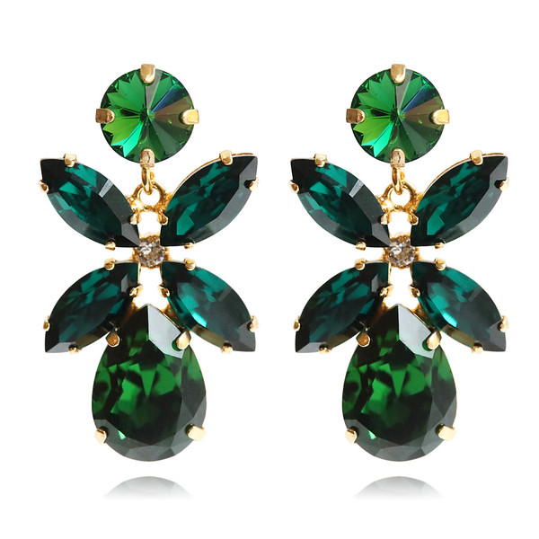 Mini Dione Earrings / Dark Moss Green + Emerald / Gold