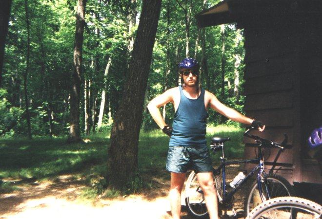 me looking tough during a trail ride up on the blue ridge parkway with Stefan, this was 1997