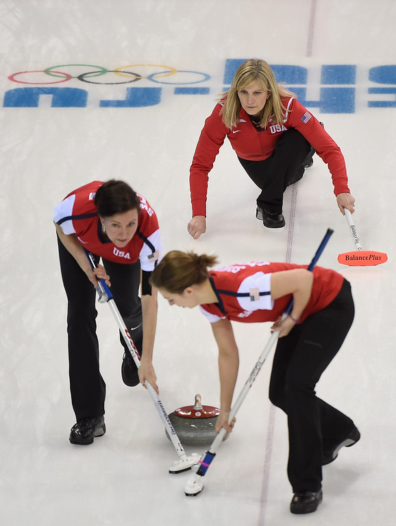 . Erika Brown and her U.S. team take their turn during the Curling Women\'s Round Robin match between USA and Canada on day nine of the Sochi 2014 Winter Olympics at Ice Cube Curling Center on February 16, 2014 in Sochi, .  (Photo by Lars Baron/Getty Images)