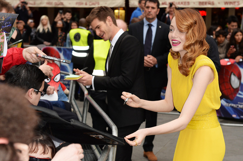 . Emma Stone and Andrew Garfield attend the world premiere of \'The Amazing Spider-Man 2\' at The Odeon Leicester Square on April 10, 2014 in London, England.  (Photo by Dave J Hogan/Getty Images)