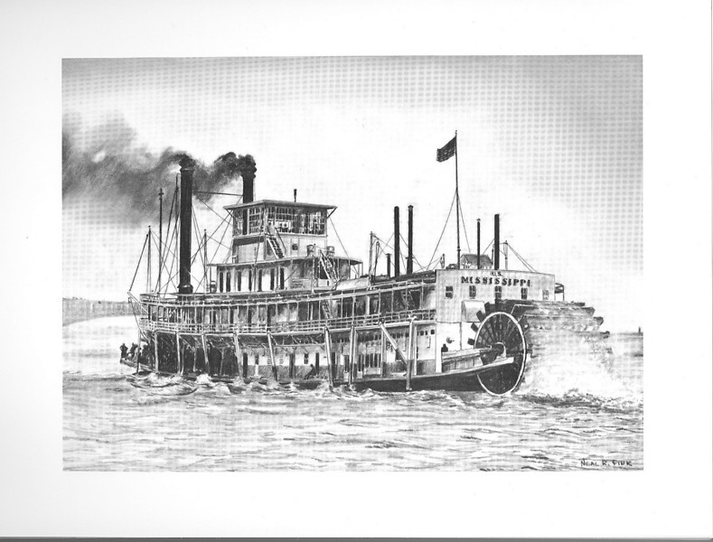 Mississippi, Army Corps of Engineers boat. This sternwheeler had the privilidge of transporting President Theodore Roosevelt in the Great Marine Parade in 1907. Here, the sternwheeler is drifting towards Eads Bridge in St. Louis.