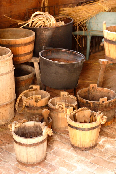 A collection of buckets and pots at Colonial Williamsburg, Williamsburg, VA. © 2005 Kenneth R. Sheide