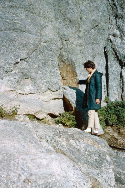 1965-09 - Black Hills - Jo observing wall in Needles