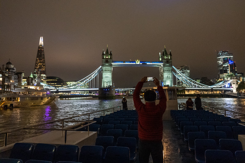 Cruising on the Thames at night