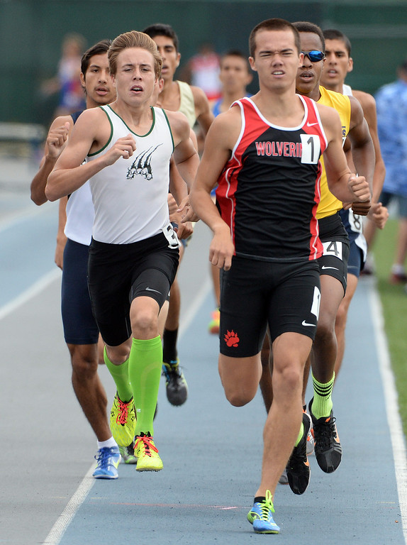 . Bonita\'s Beckhum Dillon, left, along with Harvard Westlake\'s David Manahan competes in the division 3 800 meters race during the CIF Southern Section track and final Championships at Cerritos College in Norwalk, Calif., Saturday, May 24, 2014.   (Keith Birmingham/Pasadena Star-News)