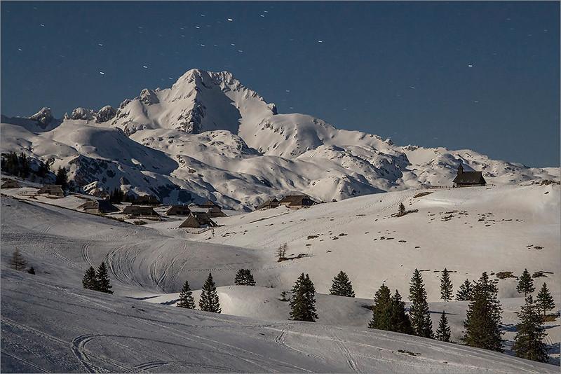 Mt. Ojstrica and shepard's settelment on Velika Planina