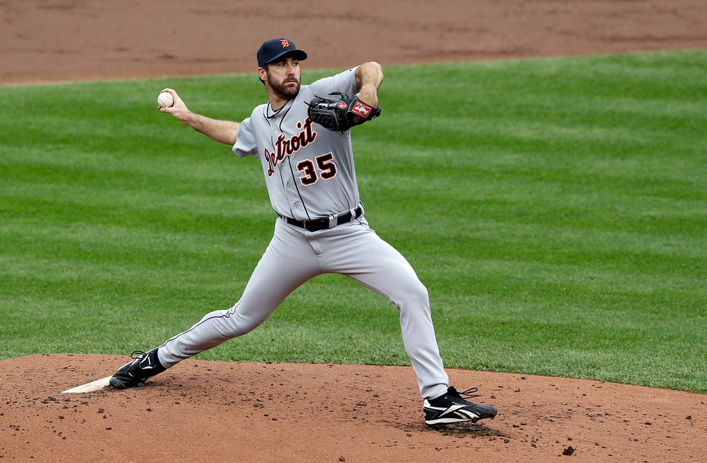 . Detroit Tigers starting pitcher Justin Verlander throws to the Baltimore Orioles in the second inning of Game 2 in baseball\'s AL Division Series in Baltimore, Friday, Oct. 3, 2014. (AP Photo/Patrick Semansky)